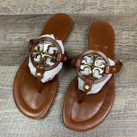 17f1b6f8324 Tory Burch Miller 2 Leather Sandal 9 Brown Gold. M 5c799cc712cd4ad33b6eb043